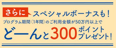 年間50万円以上利用で300ポイント(1,500円相当)ゲット!